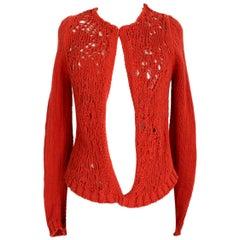 Dries Van Noten Orange Cotton Wool Openwork Short Sweater Cardigan