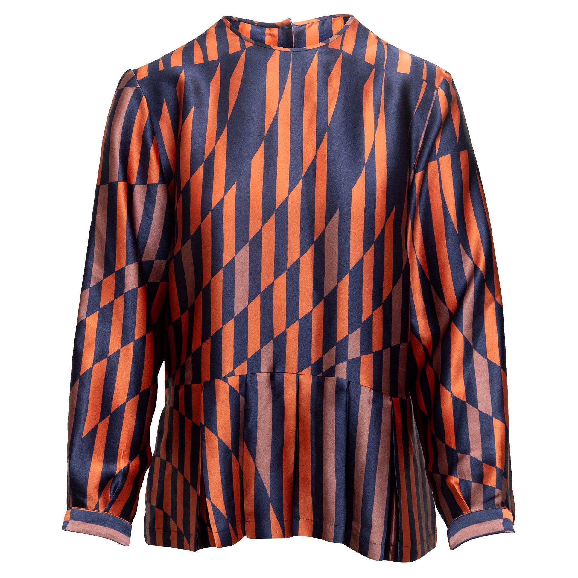 Dries Van Noten Orange & Multicolor Silk Striped Top