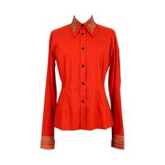 Dries Van Noten Orange Shirt Golden Embroidered Neck 2000s Slim Fit Cotton