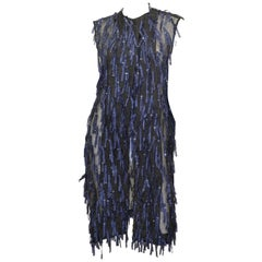 "Dries Van Noten Organza ""Ramira"" Fringed Sleeveless Coat"