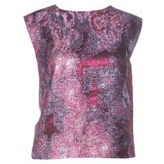 Dries Van Noten Pink Lurex Jacquard Sleeveless Top M