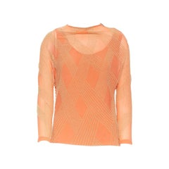 DRIES VAN NOTEN pink silk chiffon apricot beaded embroidery art-deco top FR38 S