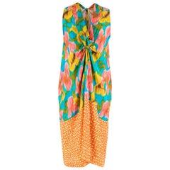 Dries Van Noten Printed Silk Knot Front Dress S 42