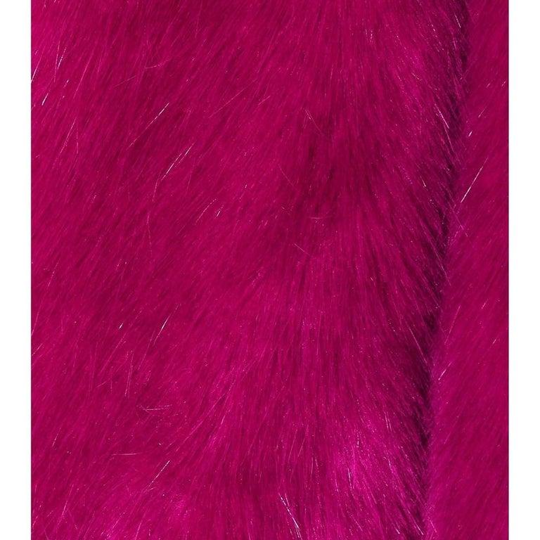 Red Dries Van Noten Rimbald Faux Fur Jacket Large For Sale