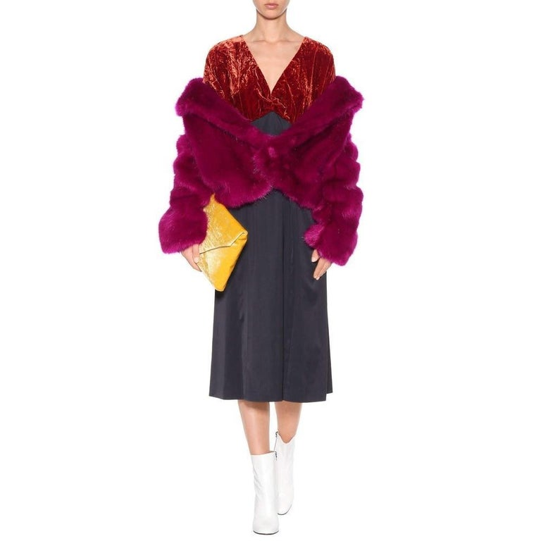 Dries Van Noten Rimbald Faux Fur Jacket Large In New Condition For Sale In Brossard, QC