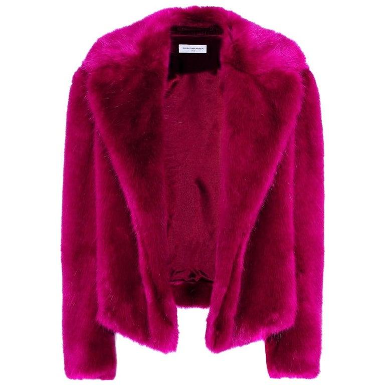 Dries Van Noten Rimbald Faux Fur Jacket Large For Sale