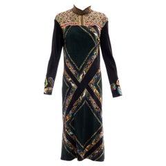 Dries van Noten Runway Bead & Sequin Embroidery Silk Printed Dress, Fall 2008