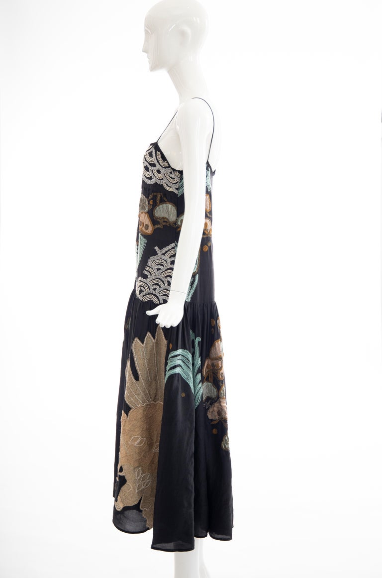 Dries Van Noten Runway Black Embroidered Dress, Spring 2006 For Sale 8