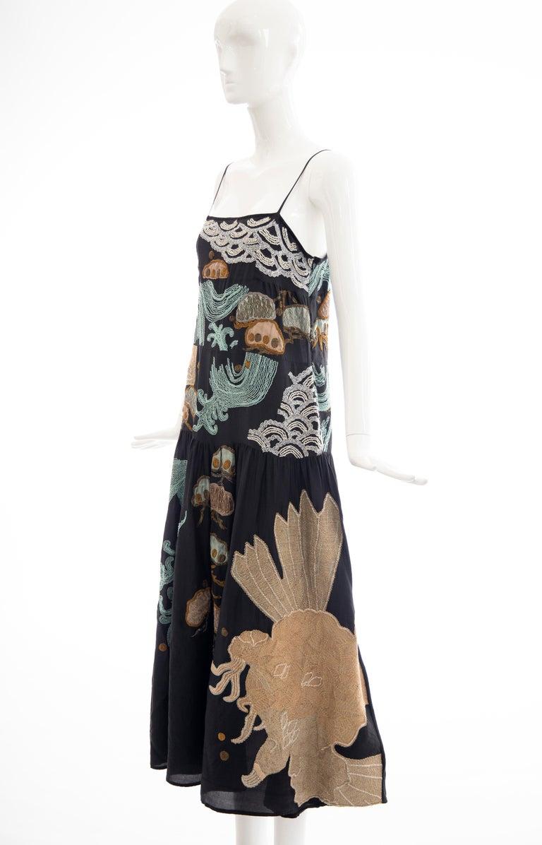 Dries Van Noten Runway Black Embroidered Dress, Spring 2006 For Sale 10