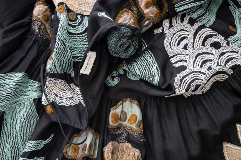 Dries Van Noten Runway Black Embroidered Dress, Spring 2006 For Sale 11