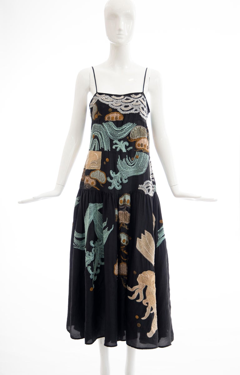 Dries Van Noten Runway Spring 2006, black embroidered dress with square neckline and zip closure at side.  No Size Label  Bust: 32