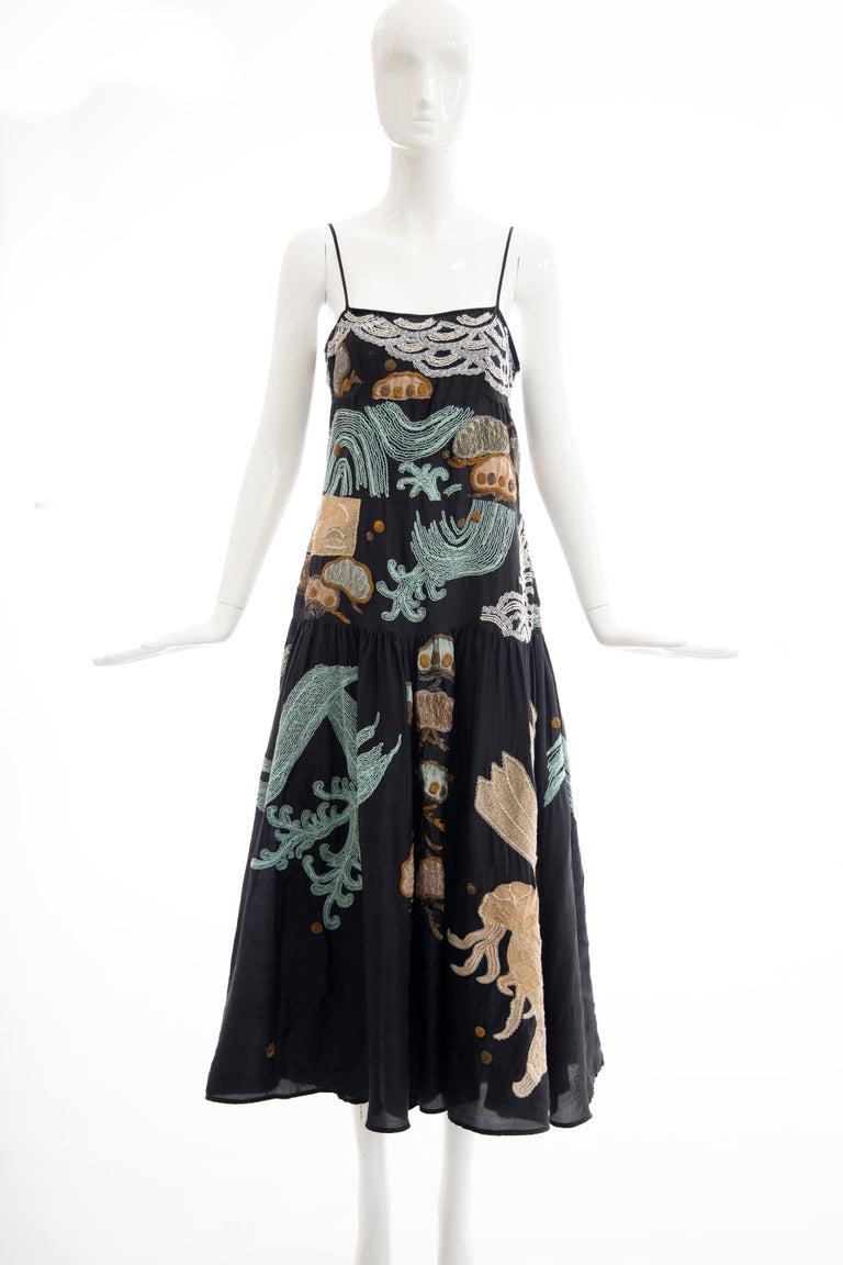 Dries Van Noten Runway Black Embroidered Dress, Spring 2006 In Excellent Condition For Sale In Cincinnati, OH