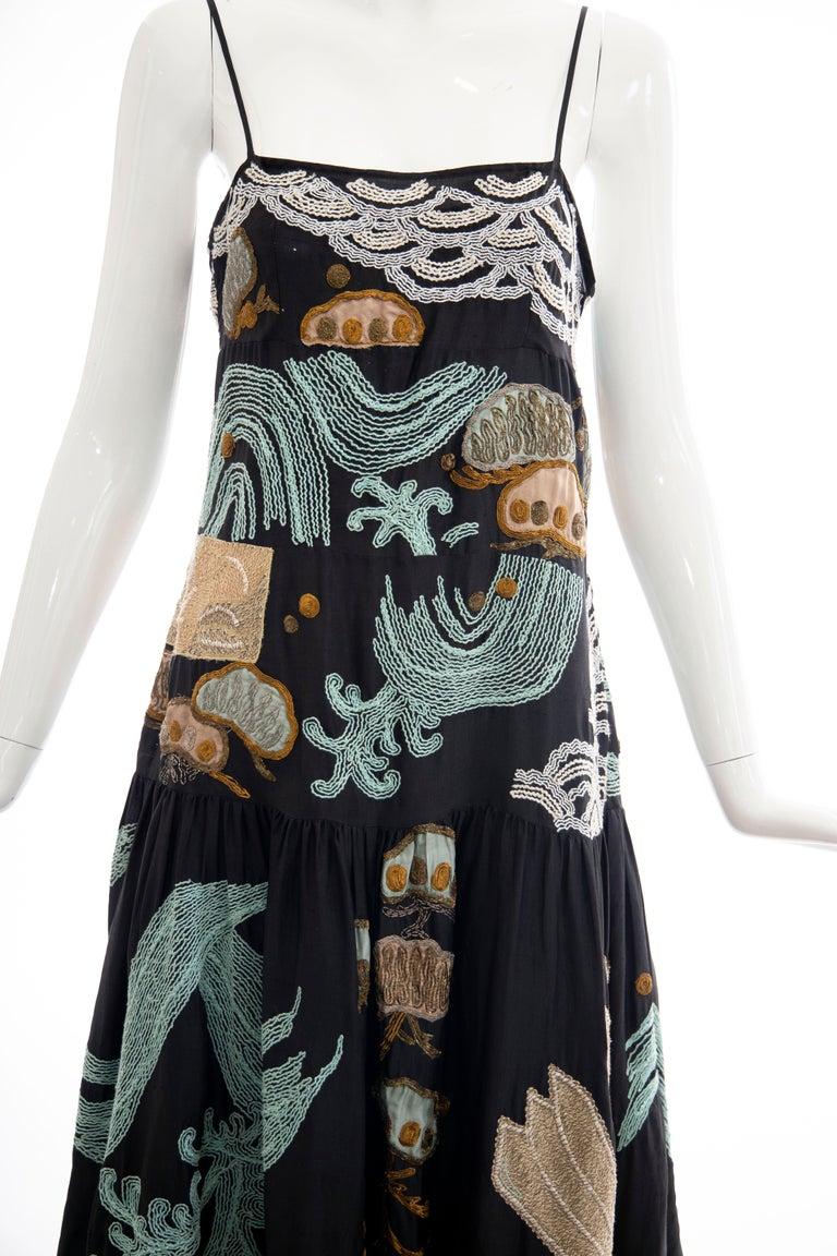 Women's Dries Van Noten Runway Black Embroidered Dress, Spring 2006 For Sale