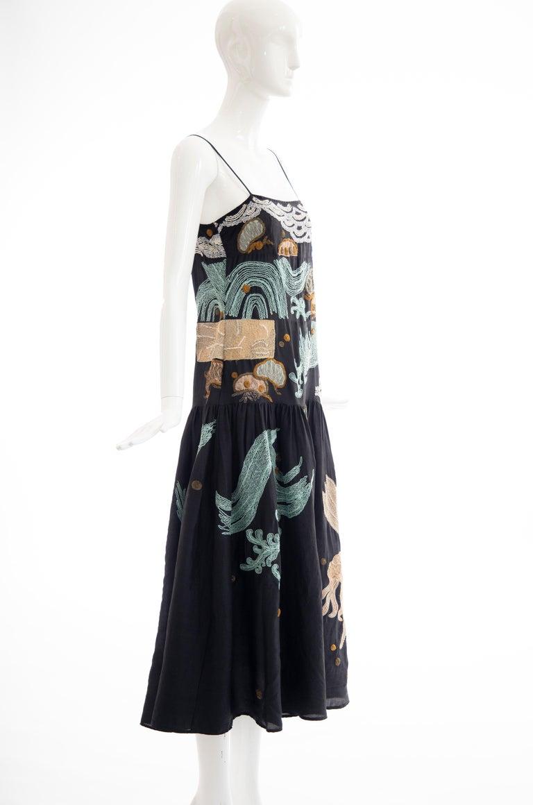 Dries Van Noten Runway Black Embroidered Dress, Spring 2006 For Sale 1