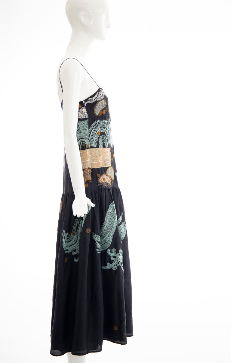 Dries Van Noten Runway Black Embroidered Dress, Spring 2006 For Sale 2