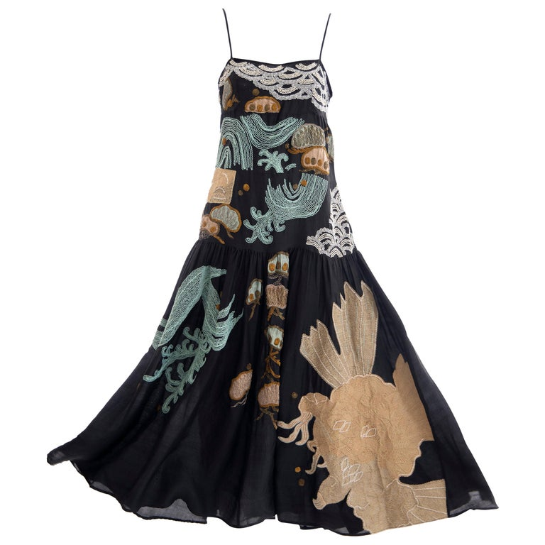 Dries Van Noten Runway Black Embroidered Dress, Spring 2006 For Sale