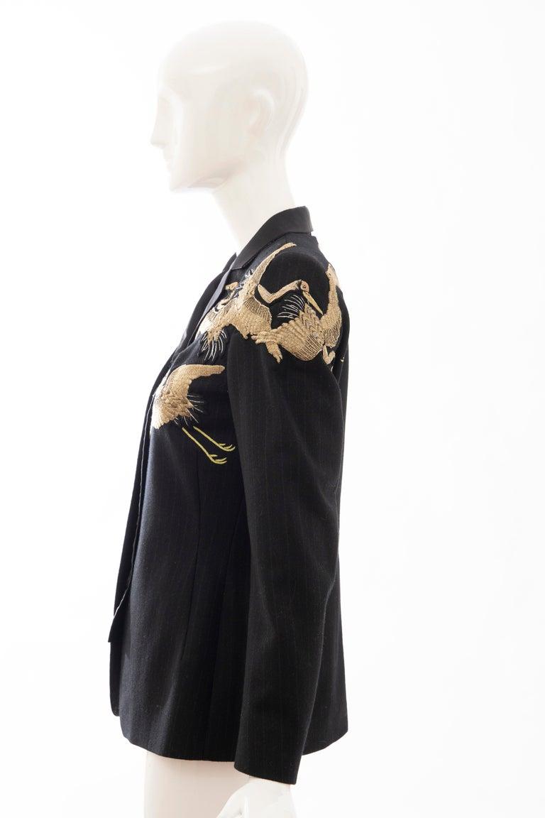 Dries van Noten Runway Black Wool Pinstripe Embroidered Jacket, Fall 2012 6