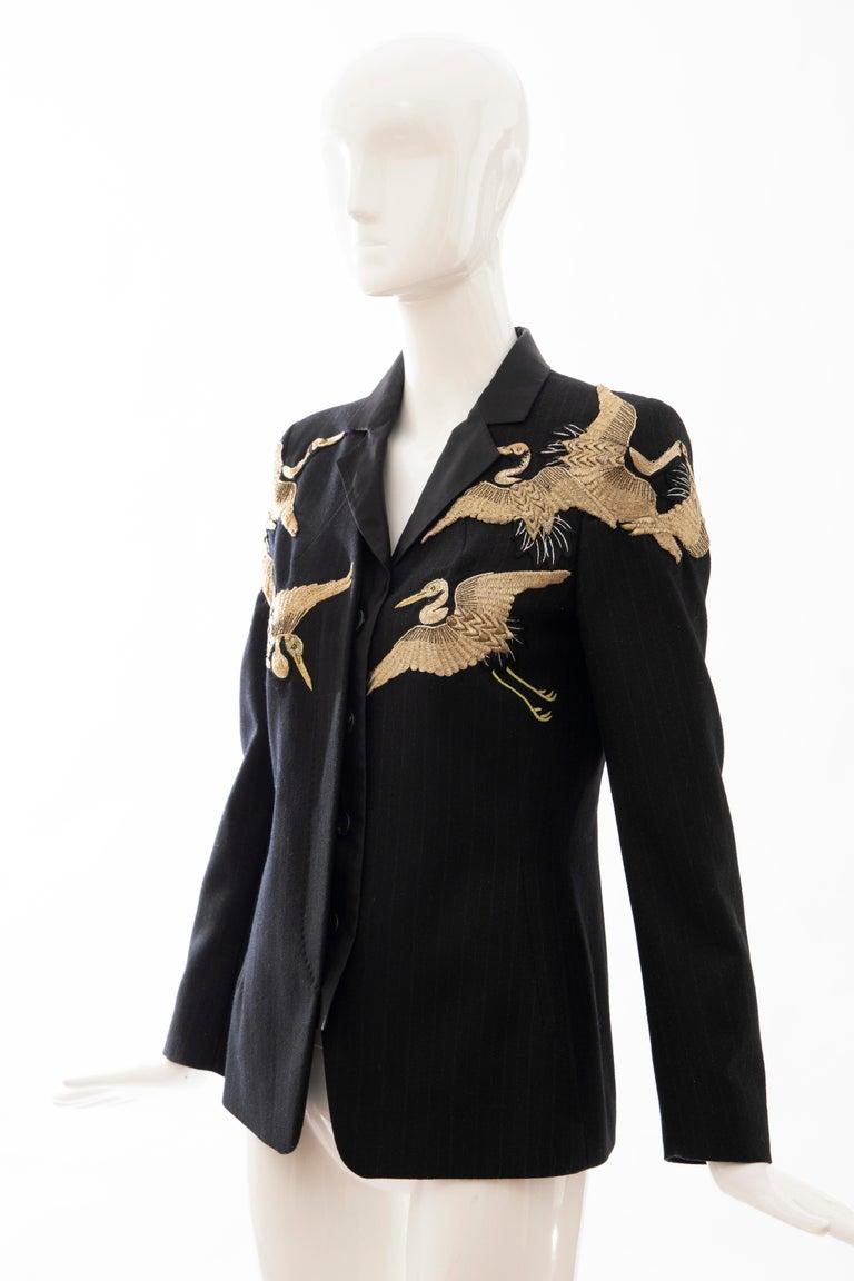 Dries van Noten Runway Black Wool Pinstripe Embroidered Jacket, Fall 2012 7
