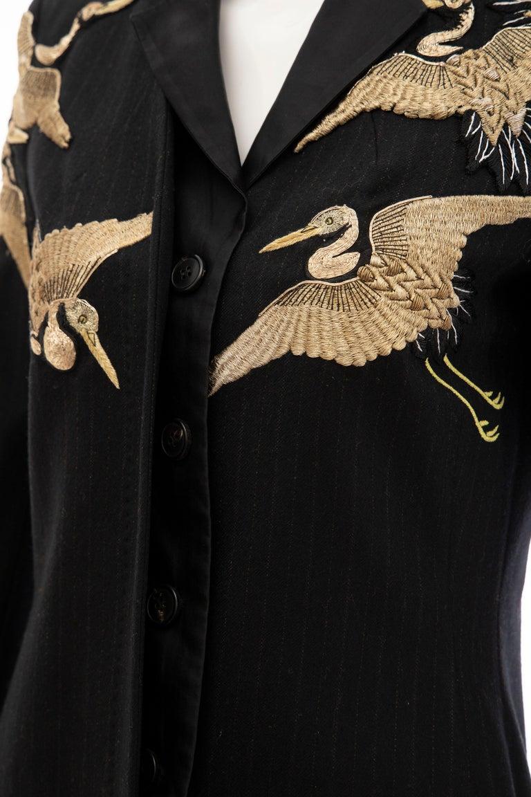 Dries van Noten Runway Black Wool Pinstripe Embroidered Jacket, Fall 2012 8