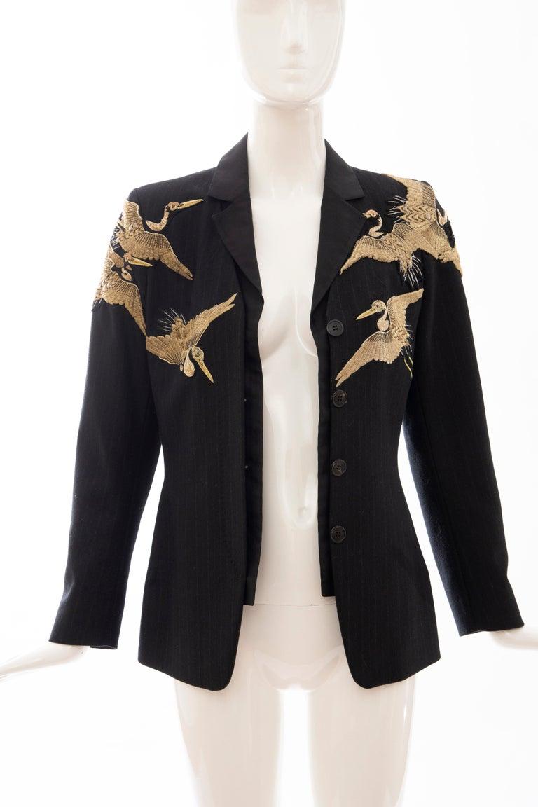 Dries van Noten Runway Black Wool Pinstripe Embroidered Jacket, Fall 2012 9