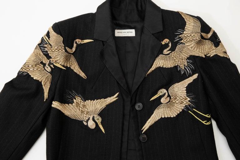 Dries van Noten Runway Black Wool Pinstripe Embroidered Jacket, Fall 2012 11