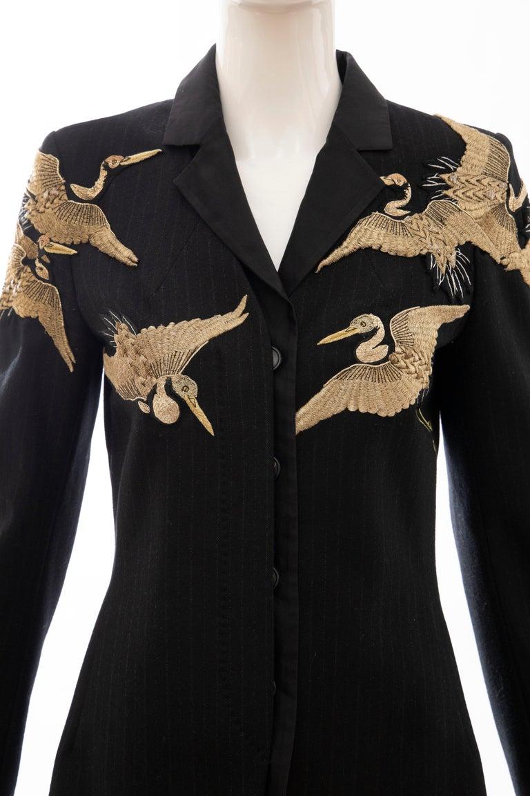 Dries van Noten Runway Black Wool Pinstripe Embroidered Jacket, Fall 2012 In Excellent Condition In Cincinnati, OH