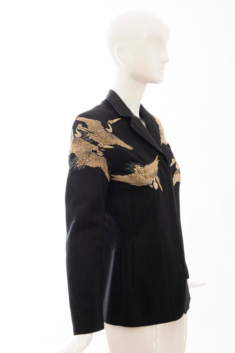 Women's Dries van Noten Runway Black Wool Pinstripe Embroidered Jacket, Fall 2012