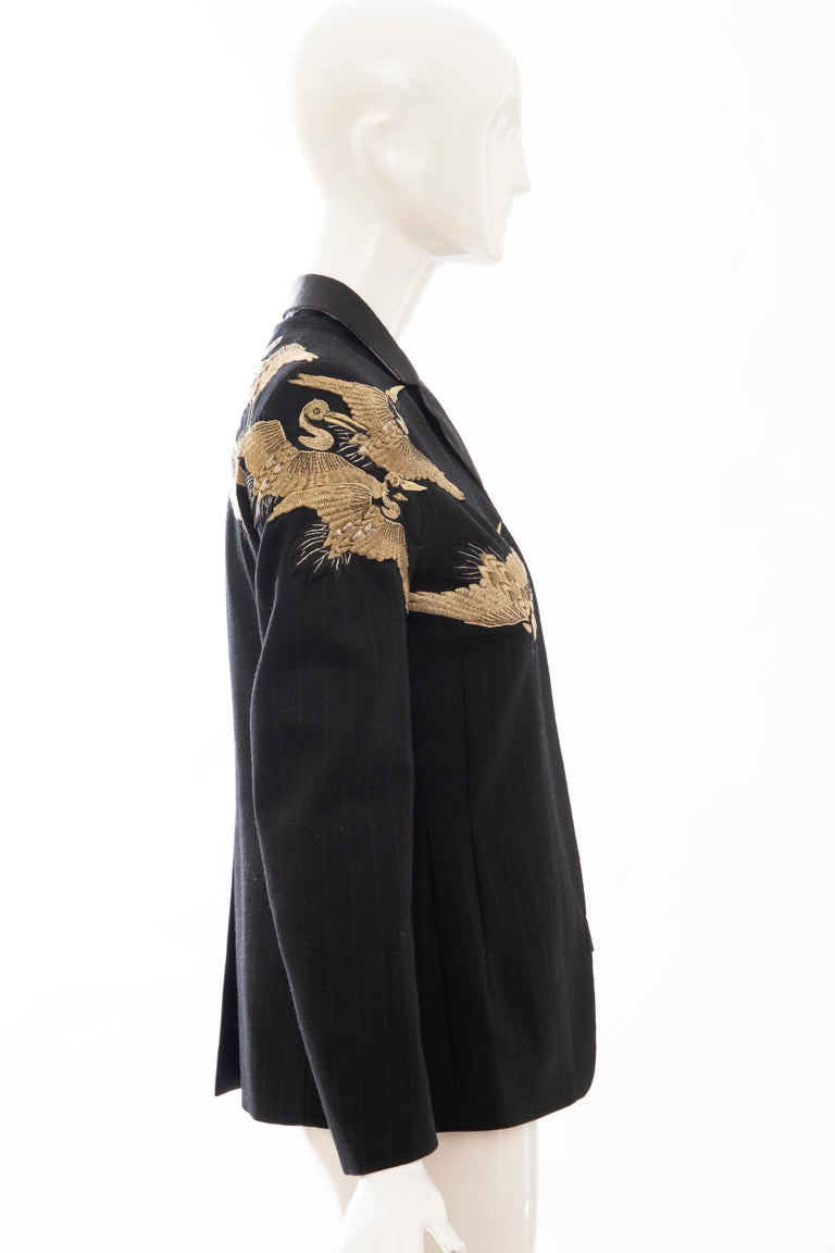 Dries van Noten Runway Black Wool Pinstripe Embroidered Jacket, Fall 2012 1