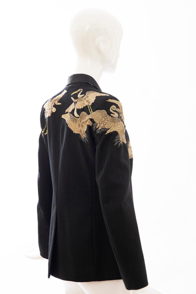 Dries van Noten Runway Black Wool Pinstripe Embroidered Jacket, Fall 2012 2