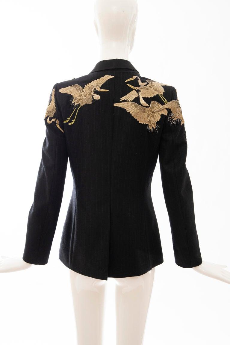 Dries van Noten Runway Black Wool Pinstripe Embroidered Jacket, Fall 2012 3