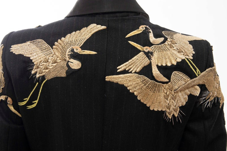 Dries van Noten Runway Black Wool Pinstripe Embroidered Jacket, Fall 2012 4
