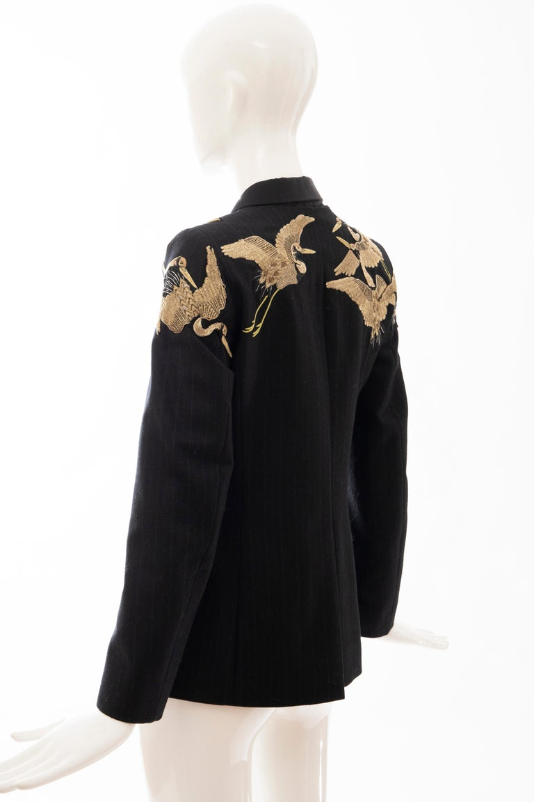 Dries van Noten Runway Black Wool Pinstripe Embroidered Jacket, Fall 2012 5