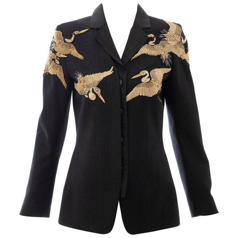 Dries van Noten Runway Black Wool Pinstripe Embroidered Jacket, Fall 2012