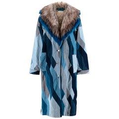 Dries Van Noten Runway Blue Denim Patchwork Faux Fur Collar Coat - Size Small
