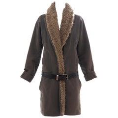 Dries Van Noten Runway Cotton Coat Leather Belt Closure, Fall 2002