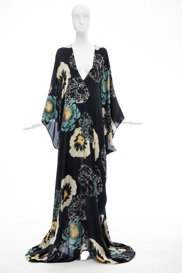 Dries Van Noten Runway Spring 2002 silk kaftan dress with V-neck and floral print throughout.  Belgium - Medium  Bust: 43, Waist: 43, Hip: 44, Length 70
