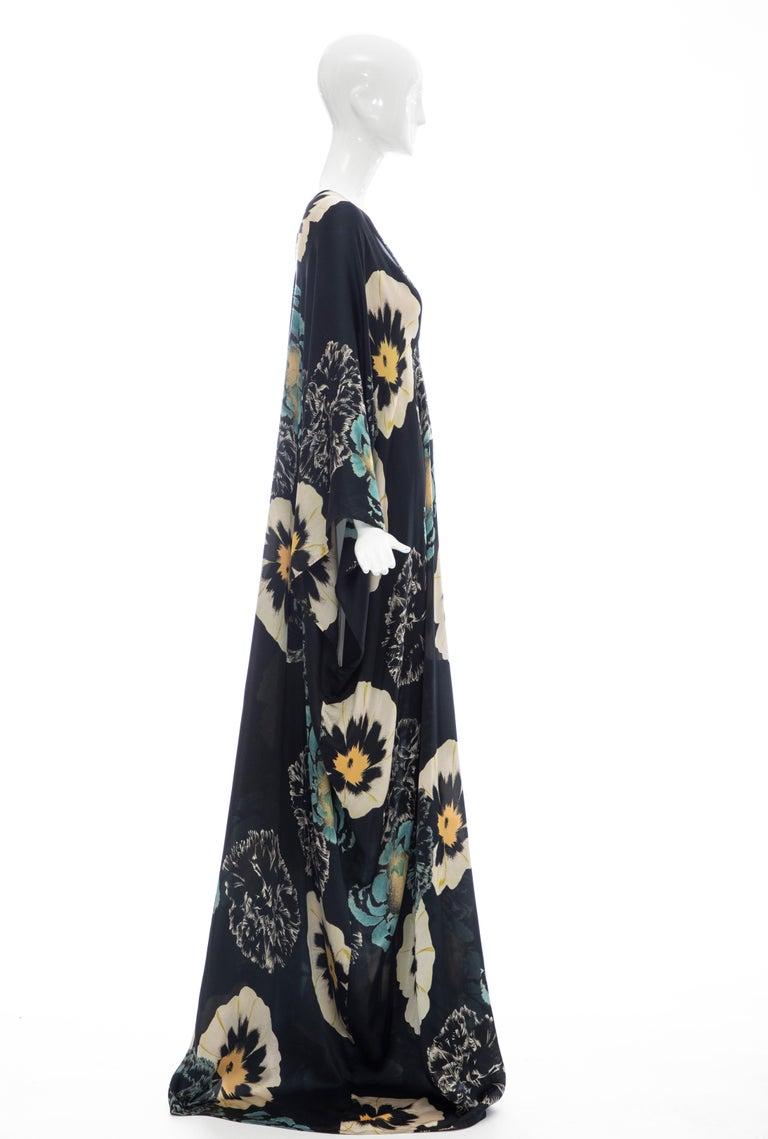 Women's Dries Van Noten Runway Silk Floral Kaftan, Spring 2002 For Sale