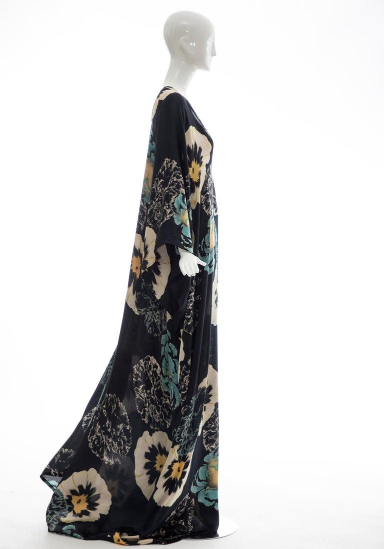 Dries Van Noten Runway Silk Floral Kaftan, Spring 2002 For Sale 2