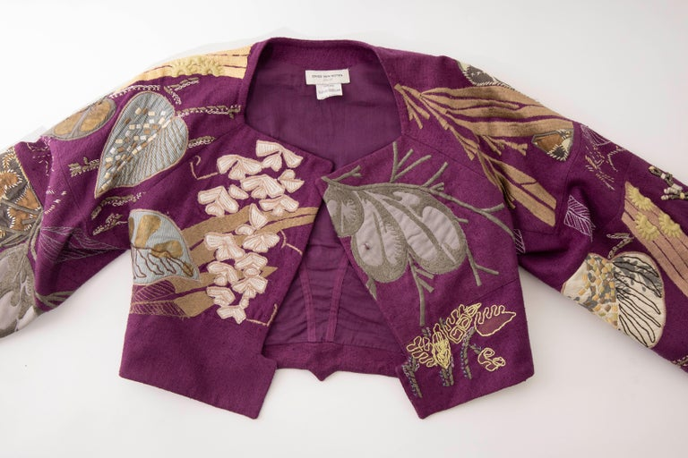 Dries Van Noten Runway Silk Magenta Embroidered Cropped Jacket, Spring 2006  For Sale 5