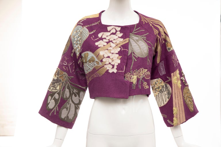 Dries Van Noten Runway Spring 2006, silk magenta embroidered jacket, square neck, kimono sleeves, cropped fit and single hook closure at front.  Size: 36  Bust: 32