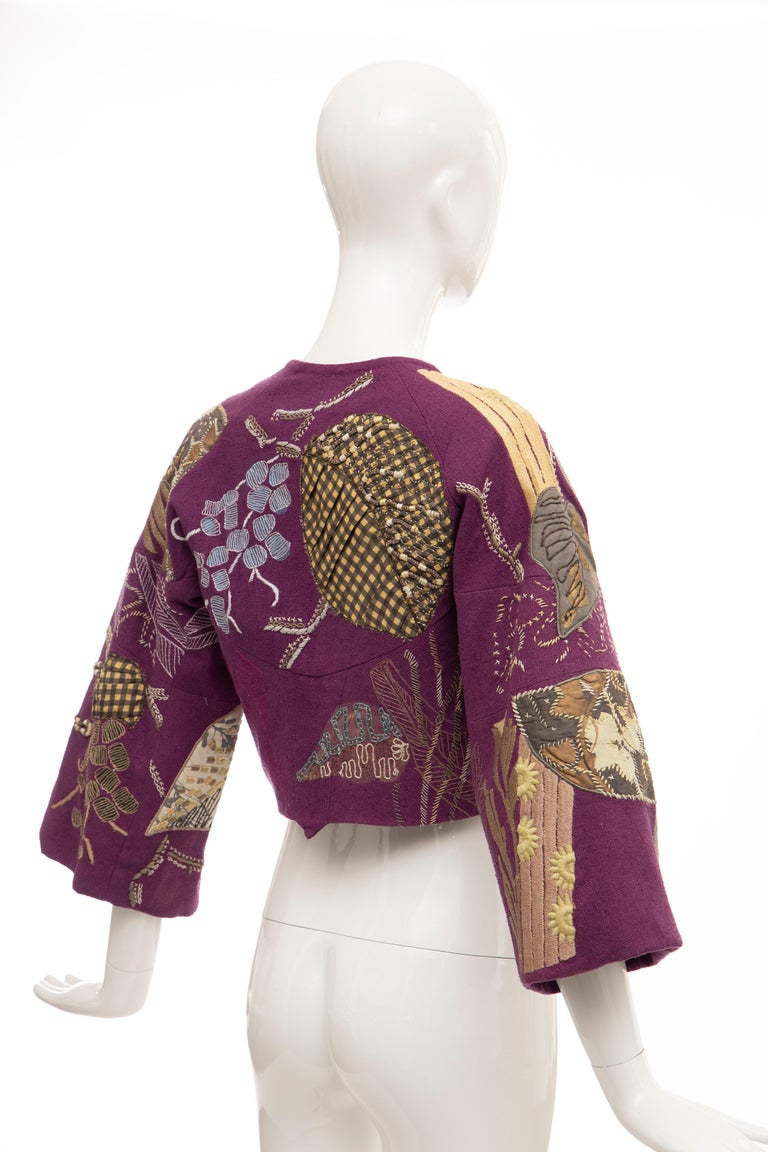 Dries Van Noten Runway Silk Magenta Embroidered Cropped Jacket, Spring 2006  For Sale 1