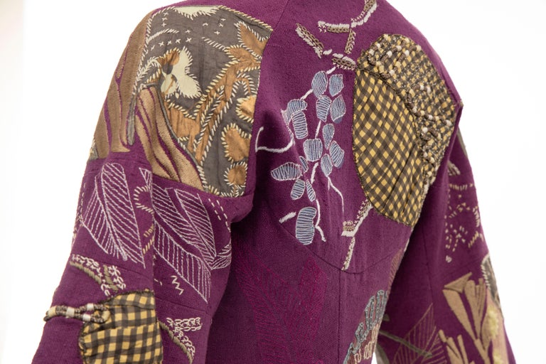 Dries Van Noten Runway Silk Magenta Embroidered Cropped Jacket, Spring 2006  For Sale 2