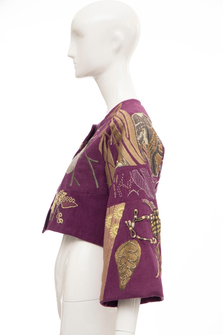 Dries Van Noten Runway Silk Magenta Embroidered Cropped Jacket, Spring 2006  For Sale 3