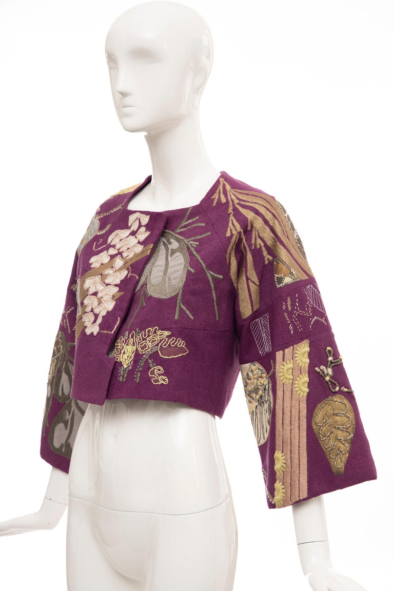 Dries Van Noten Runway Silk Magenta Embroidered Cropped Jacket, Spring 2006  For Sale 4