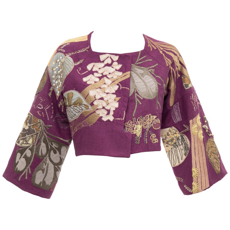 Dries Van Noten Runway Silk Magenta Embroidered Cropped Jacket, Spring 2006  For Sale