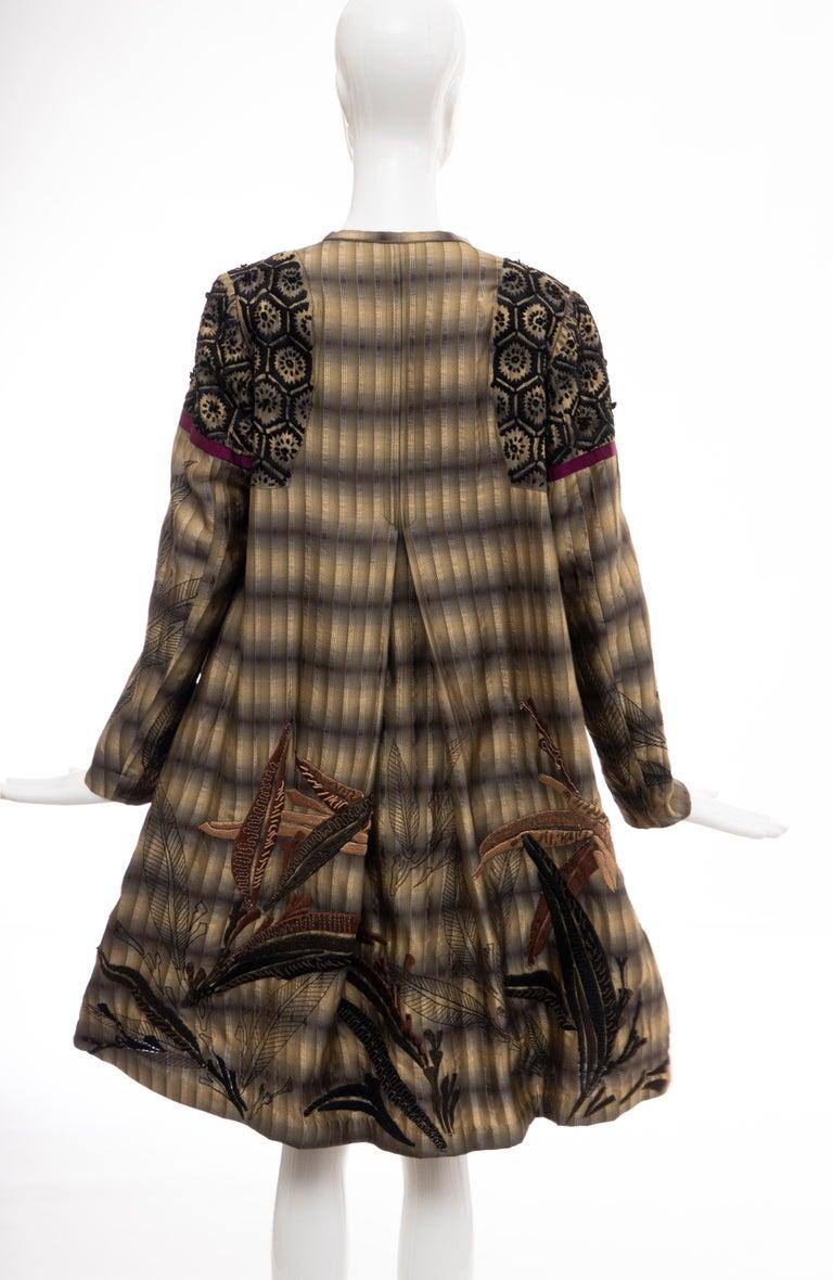 Dries Van Noten Runway Striped Embroidered Silk Lightweight Coat, Spring 2006 For Sale 5