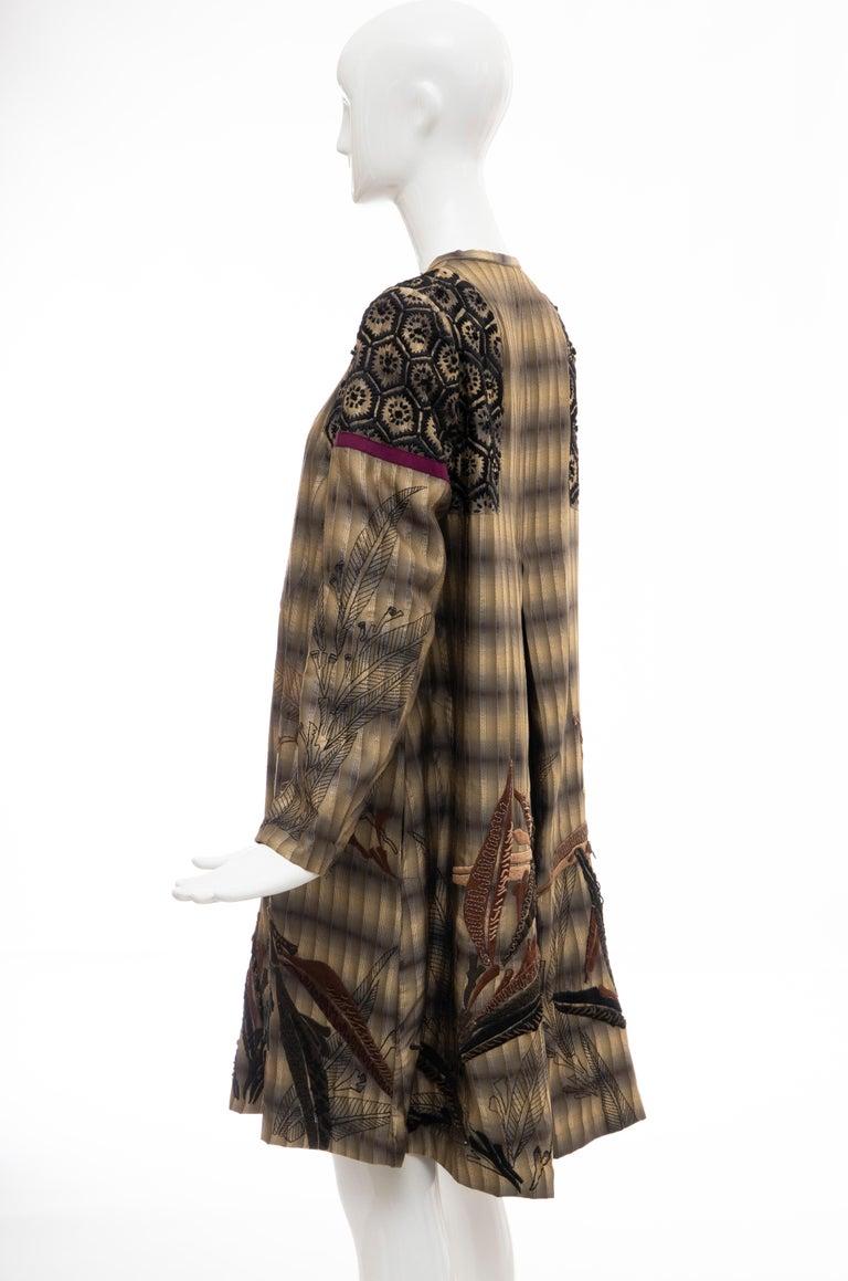 Dries Van Noten Runway Striped Embroidered Silk Lightweight Coat, Spring 2006 For Sale 6