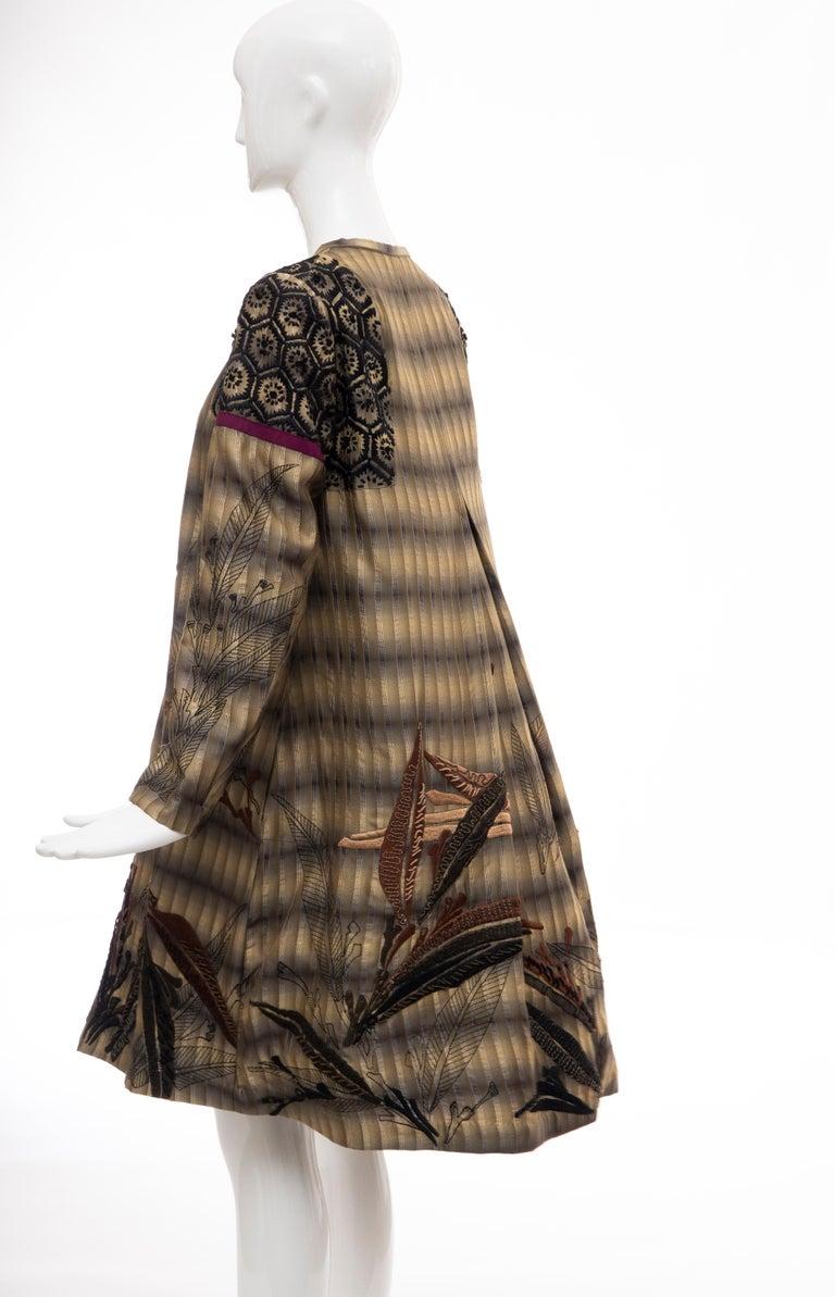 Dries Van Noten Runway Striped Embroidered Silk Lightweight Coat, Spring 2006 For Sale 7
