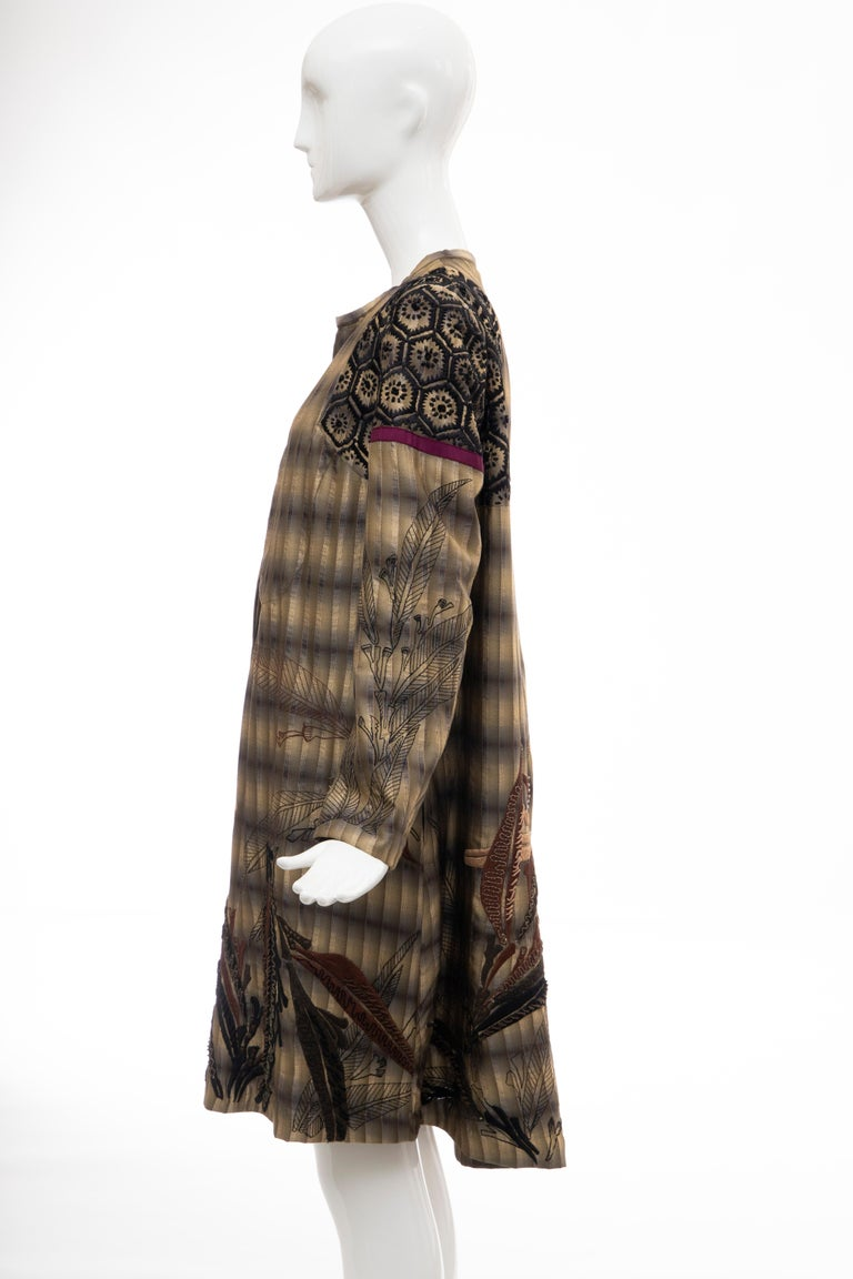 Dries Van Noten Runway Striped Embroidered Silk Lightweight Coat, Spring 2006 For Sale 8