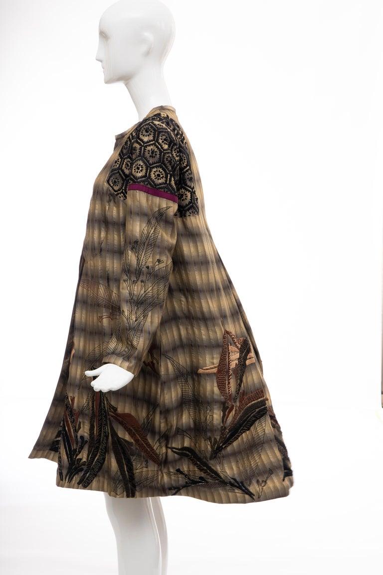 Dries Van Noten Runway Striped Embroidered Silk Lightweight Coat, Spring 2006 For Sale 9